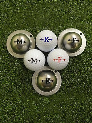 1 ONLY ALPHA PLAYER TIN CUP ARROW GOLF BALL MARKERS - YOUR design  FOR LIFE