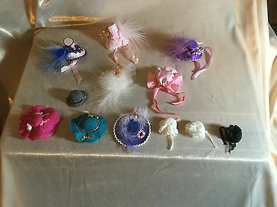 12 x 12th SCALE DOLLS HOUSE MINIATURE HAND MADE HATS for DOLL'S - SHOP - WEDDING