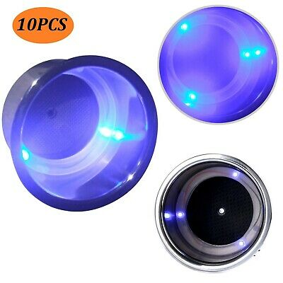 10pcs Amarine made Stainless Steel Blue 3 LED Cup Drink Holder with Drain