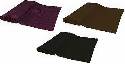 100 % Cotton Ribbed Wide Table Runners In Black Brown & Plum