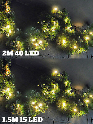 Pre Lit Garland LED Light Up Christmas Decoration Swag Green Pine Cone Foliage