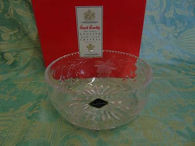 "Stunning 8"" Royal Brierly Fuchsia Crystal Fruit Bowl Signed"