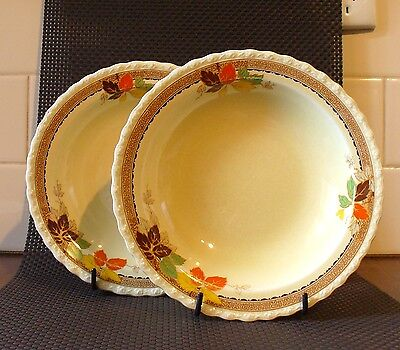 Vintage Myott Yellow with Autumn Leaves Soup Bowls #979