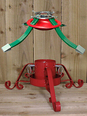 Christmas Tree Stand Red Green Metal Adjustable Water Dish Traditional 30KG