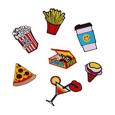 7pcs Embroidred Sew Iron on Patch Applique Badge Pizza Popcorn Fast Food Motif