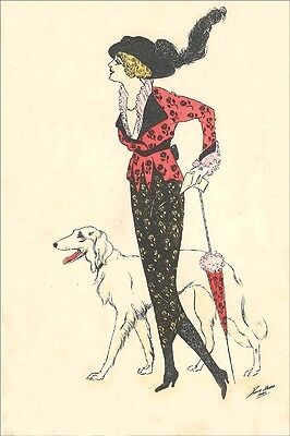"Borzoi Dog & 1916 ""Merry Widow"" Woman  ~  LARGE New Blank Note Cards"