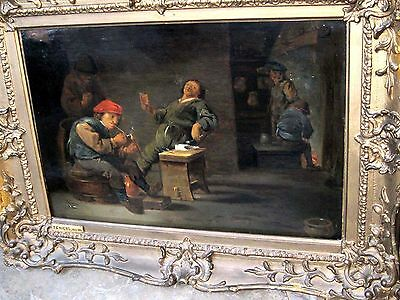 Attributed  David Teniers ANTIQUE OLD MASTER OIL PAINTING on oak panel