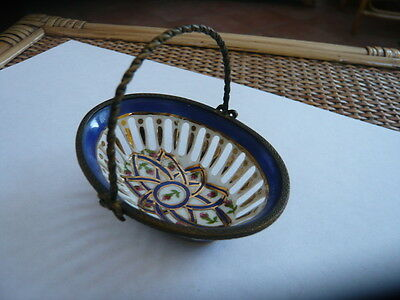 Vintage Old Miniature Hand Painted Porcelain Basket With Brass Handle European