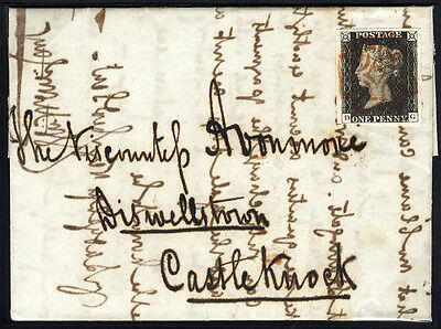 1840 Penny Black (Plate 1b DG) on cover from Dublin to Castleknock . . .