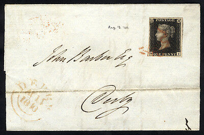 1840 Penny Black (Plate 5 MI) on cover from London to Derby. . . .