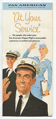 Pan Am At Your Service Brochure With Pilot & Cabin Crew Images Paa American