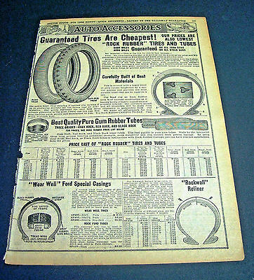 Old 1917 WM. GALLOWAY CO CATALOG 2 pg. ads for Car Auto Accessories,Tires,Tubes