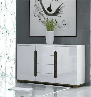 City Living High Gloss White Sideboard 2 Door / 4 Drawers