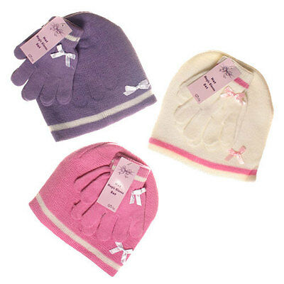 Girls Winter Magic Hat & Gloves Set KNITTED WOOL Cream Purple Pink 1-4 Years