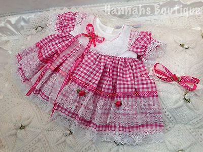 """Hannahs Boutique 0-3 Month Baby Frilly Dress & Headband Set Or Reborn 20-24"""""""