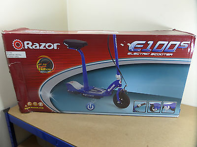 Razor E100S Blue Electric Scooter with Removable Seat - Damaged Box