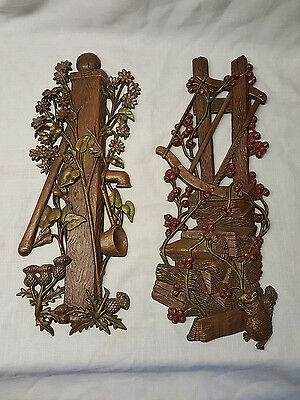 2 Hard Plastic Wall Plaques Burwood Homco Fence Post Squirrel Wood Pile Thistle