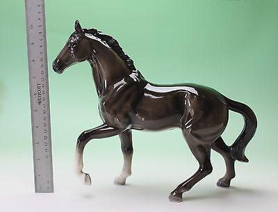 "12"" X-Large Pawing Black Horse Walk Pracing Porcelain Figurine Statue Japan NEW"