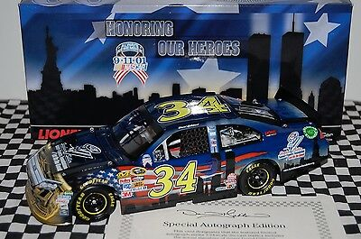 David Gilliland #34 'HEROES' FORD FUSION 1:24 scale NASCAR Die-Cast AUTOGRAPHED