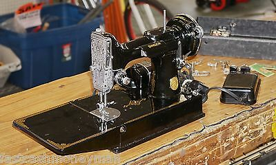 Vintage 1939 Singer Featherweight 221 Sewing Machine & Accessories Fancy Front