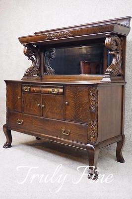 Victorian Tiger Oak Bar Liquor Cabinet Server Buffet Sideboard Table