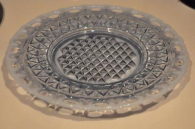 "Vtg Imperial Katy Blue Opalescent Lace Edge Depression Glass 8"" Des/Salad Plate"