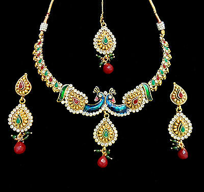 Indian Traditional Jewelry Peacock Necklace Bollywood Ethnic Ruby Earrings Set I