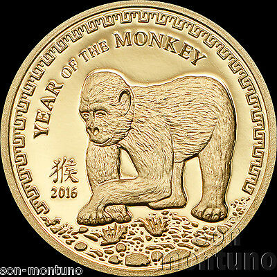 2016 Mongolia - YEAR OF THE MONKEY - 1000 Togrog 1/2 gram PURE GOLD COIN .9999