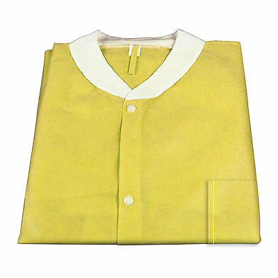 Lot of 30 Dynarex 2043 Yellow Size Medium Lab Coat SMS With Pockets New