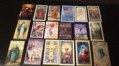 Lot of 18 Laminated Religious Prayer Holy Cards some with Medallions