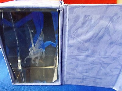 """Pegasus horse crystal glass paper weight 1lb 2oz very nice about 3"""" gift item"""
