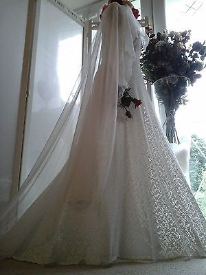 EQUISITE Antique French 1800s Handmade Ecru Normandy Lace Wedding Dress~Heirloom