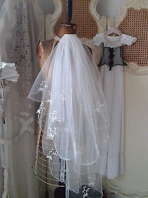 Pretty Vintage French 1900s Handmade Tambour Tulle Bridal Wedding Veil ~Heirloom