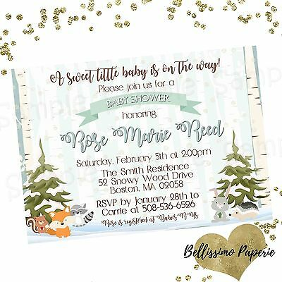 Winter Woodland Baby Shower Invitation, Personalized, Forest Animals, Fox