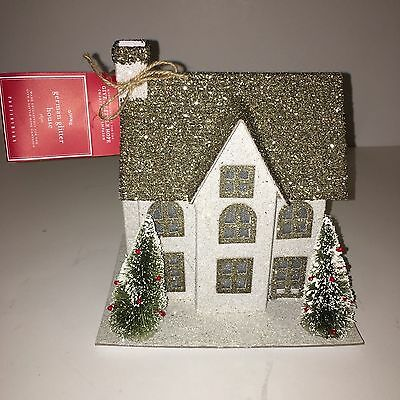 NEW Pottery Barn LIT GERMAN GLITTER VILLAGE HOUSE SMALL COLONIAL Christmas NWT