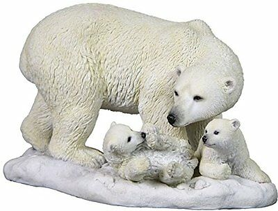 "9.75"" Polar Bear and Cubs Statue Wild Animal Decor Sculpture Figure White Snow"