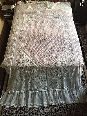 """Antique French Lace Victorian BedCover/Spread Curtain 102"""" X 72"""" Excellent Huge!"""
