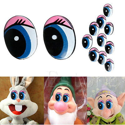 5 Pairs(10Pcs) Oval Blue Safety Plastic Eyes Toy Puppets Dolls Eyes 24 x18mm Hot