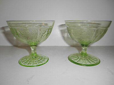 Pair of Green Princess Footed Tall Champagne/Sherberts by Anchor Hocking