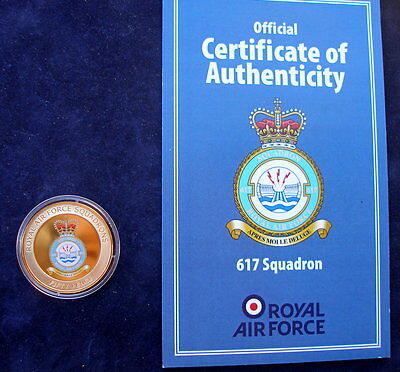 Guernsey 2013  Royal Air Force No 617 Squadron 24k gold plated 50p + Certificate