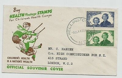New Zealand Illustrated Souvenir Day cover Health 1944