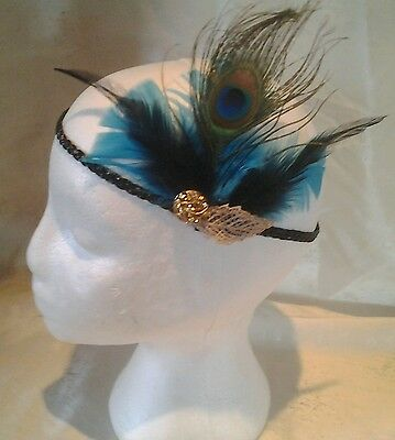 Great Gatsby Blue Black & Gold  Feather Sparkly Elastic Hair Head Band 1920 s