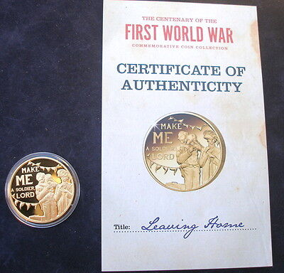 Jersey 2014  24k gold plated 50p  WW1 Leaving Home + Certificate