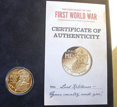 Jersey 2014  24k gold plated 50p  WW1 Lord Kitchener  & + Certificate