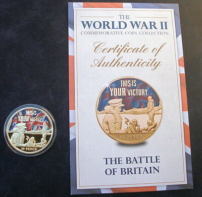Jersey 2015  24k gold plated 50p  WW2 Battle of Britain & + Certificate