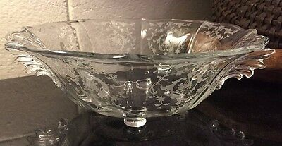 """Large Fostoria Footed NAVARRE Etched 12 1/2"""" Console Bowl, Baroque Syle"""