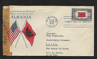 CENSORED WORLD WAR 2 ALBANIA  FIRST DAY COVER to NATAL, BRASIL--1943--SCARCE