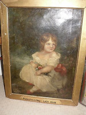19Th Century Painting On Canvas Portrait Of Lady Emilia Dilke As A Child 1845