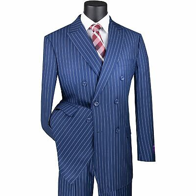 Men's Navy Blue Pinstripe Double Breasted 6 Button Classic Fit Suit NEW