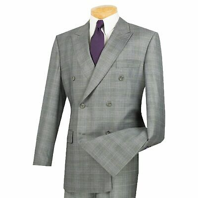 Men's Gray Glen Plaid Double Breasted 6 Button Classic Fit Suit NEW